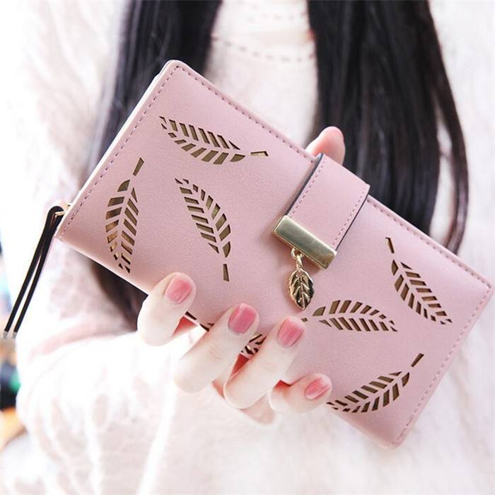 Hot selling low price trendy new design leaf pu leather ladies purse women wallet