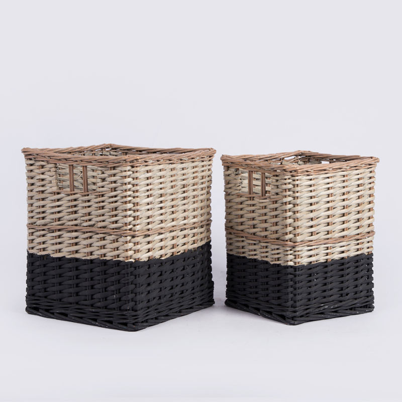 Wholesale custom black rectangular hand woven wicker willow rattan cane plant storage organizer bathroom baby laundry basket