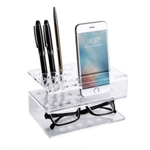 2-Tier Acrylic Marker Stand Clear Dry Erase Marker Organizer With Cell Phone Holder Desktop Marker Pen Stand