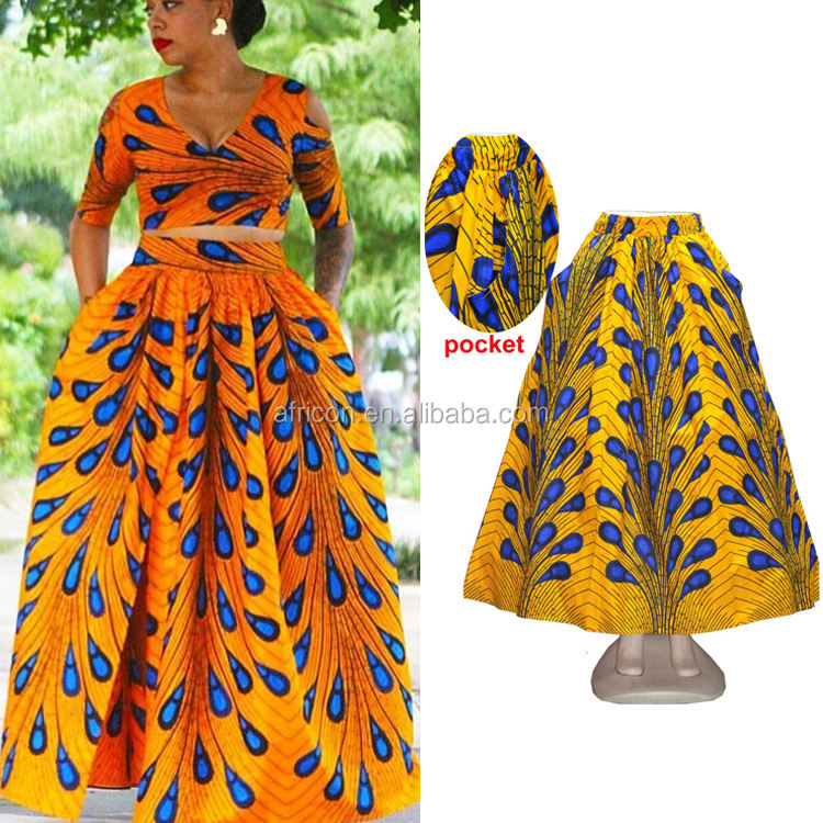 Queency Small MOQ Newest African Style Design Print Wholesale Maxi Long Dashiki Skirt