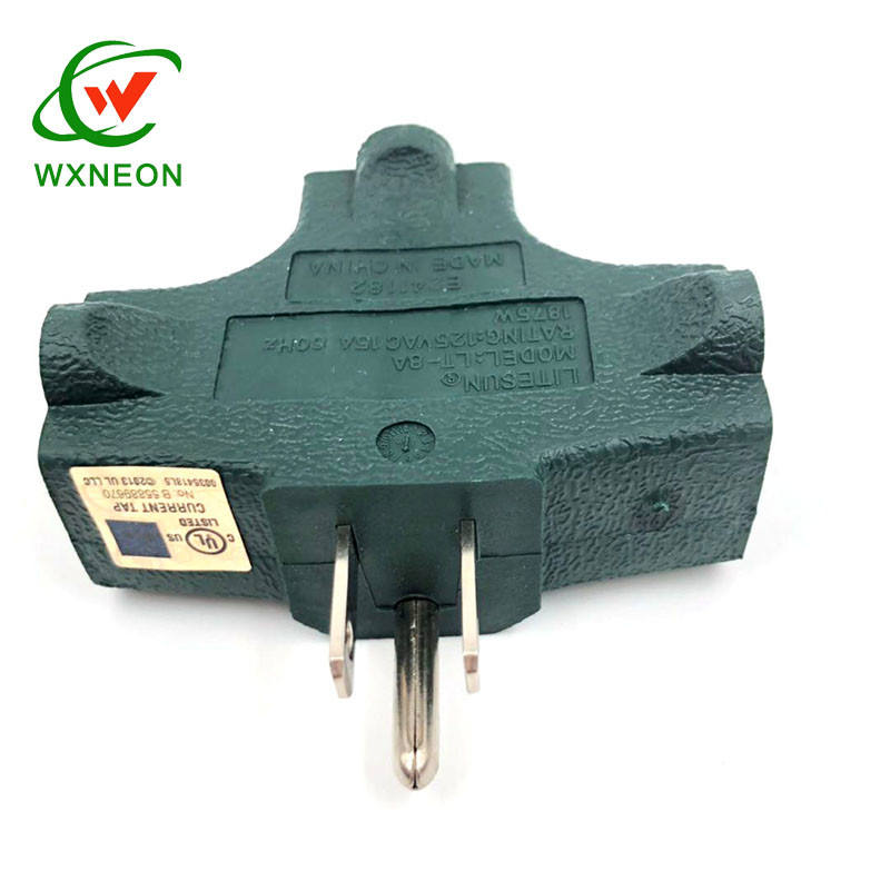 125V 3 Prong T Shaped 3 Way Outlet Wall Plug Adapter Green