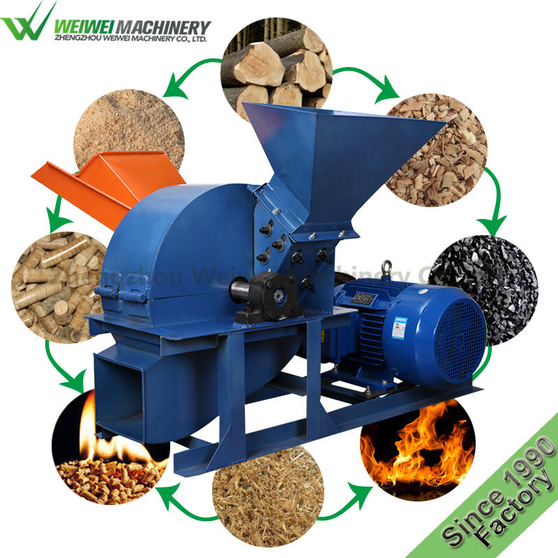 Weiwei MFJ420 wood working crusher diesel electric saw fertilizers making sawing wood mill sawdust making machine