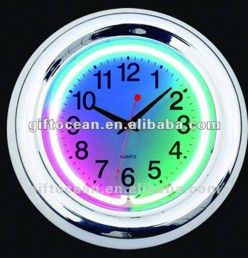 3 colors neon light wall clock,decorative neon wall clock