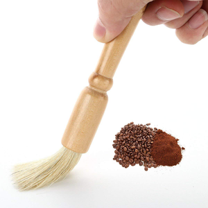 Round oak wood coffee machine cleaning brush