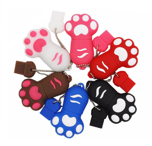 Novelty special colorful cat foot shape usb 2.0 flash cute thumb drive