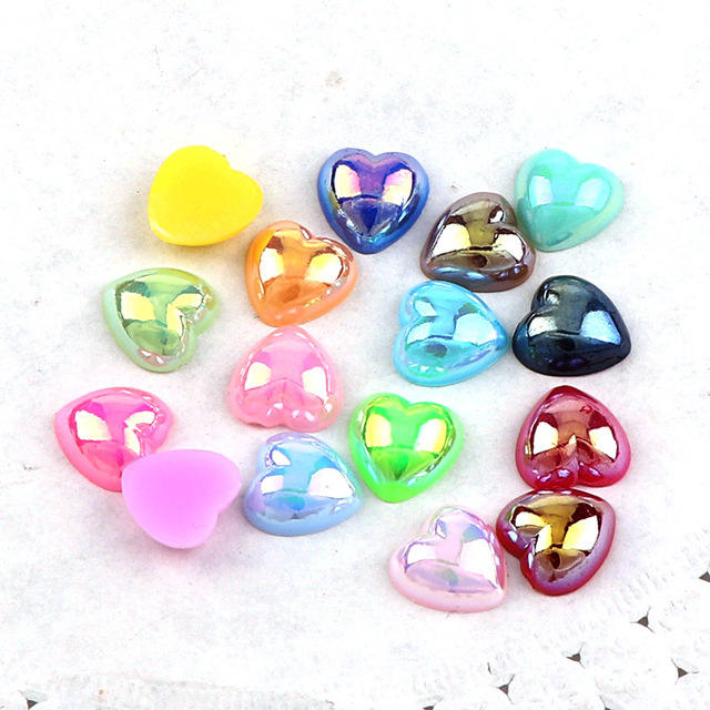 Wholesale 8mm Mixed AB Color Pearls Half Round Flatback Heart Shape Beads