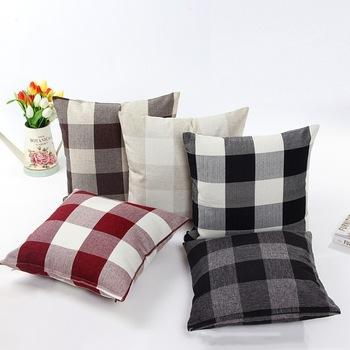 Christmas Red and Black Buffalo Check Plaid Throw Pillow Case and embroidery pillow covers