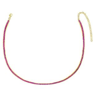 LOZRUNVE Fashion Jewelry 925 Silver Ruby 테니스 숨 막히게 목걸이