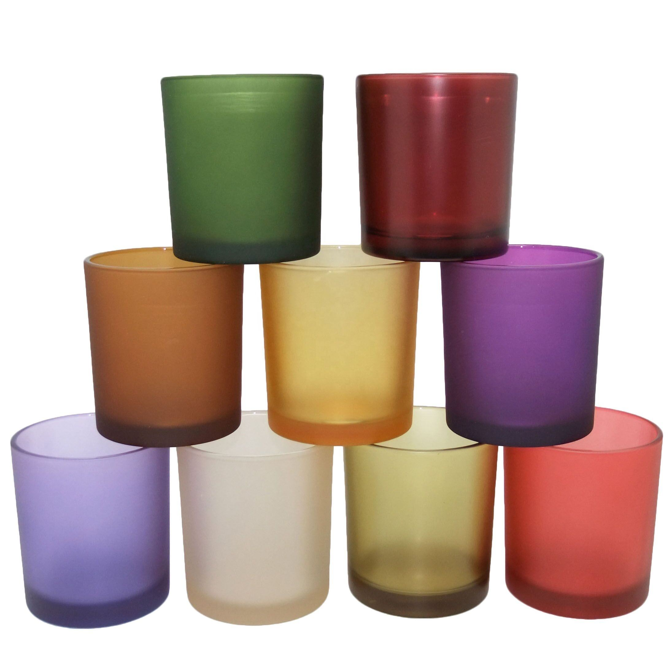 5.5oz glass containers for candles matte colored wholesale candle vessels frosted candle glass for home decor Haodexin