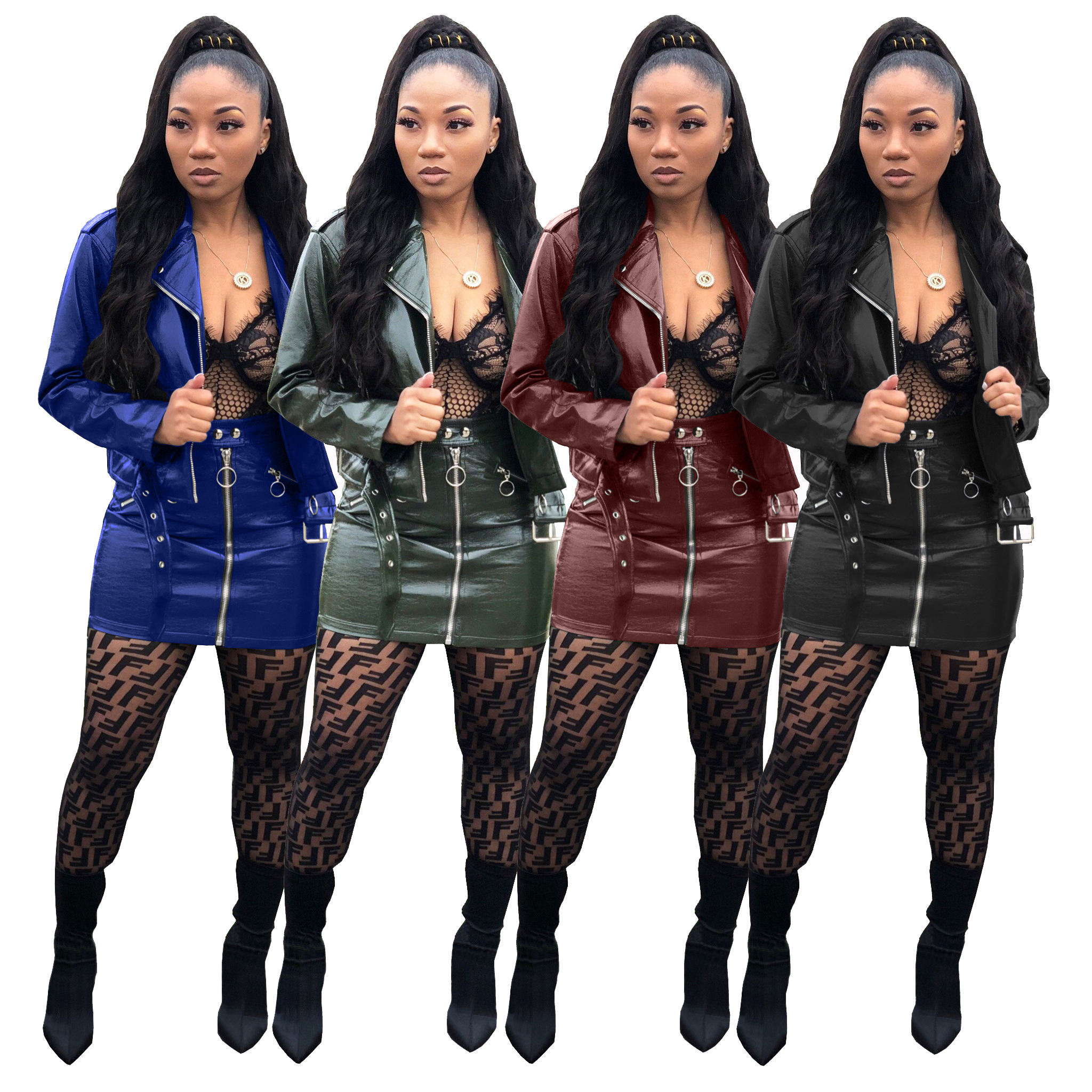 sexy women pu leather jacket jacket and skirt set