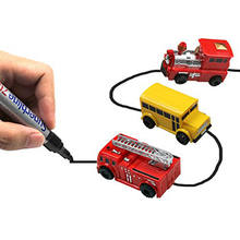 Super Funny Draw Lines Inductive rail Track Car Magic Pen Inductive Track Mini Toy Engineering Vehicles