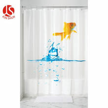 Clear waterproof  PEVA 3d Printed Plastic shower curtain with hooks Bath Heavy Duty Shower Curtains