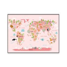 Home Decor Nautical Ocean Sea Animal World Map Canvas Wall Art Pictures Painting Wall Poster