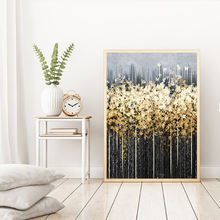 3D-Printing Nordic Green Gold Foil Painting Foil Big Poster Print Quadro Modern Wall Art Living Room Canvas Art