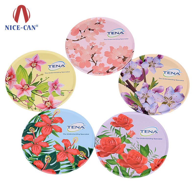 Nice-can high quality full color printing round tin for coaster set