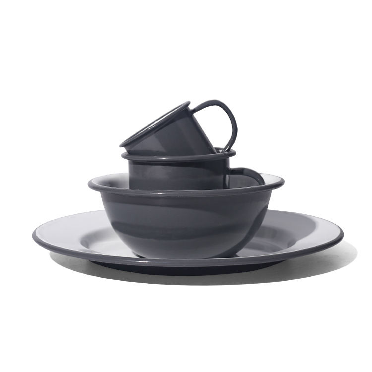New product 2019 solid enamel dinner set deep straight enamel pot