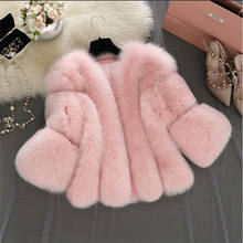 Elegant Ladies Fox Fur Overcoat/White /Pink /Grey Whole Skin Faux Fur Coat/ Fluffy Fur Coat for Woman