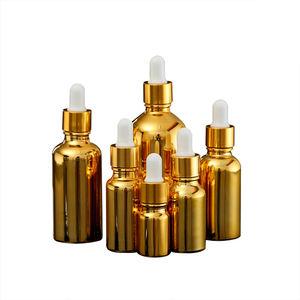 Fuyun estoque variedade de tamanhos de frasco conta-gotas de vidro da cor do ouro
