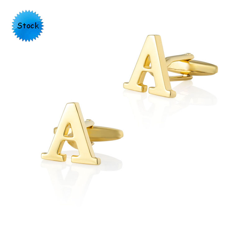 Hot selling cuff accessories custom gold and silver initial letter cuff links gift