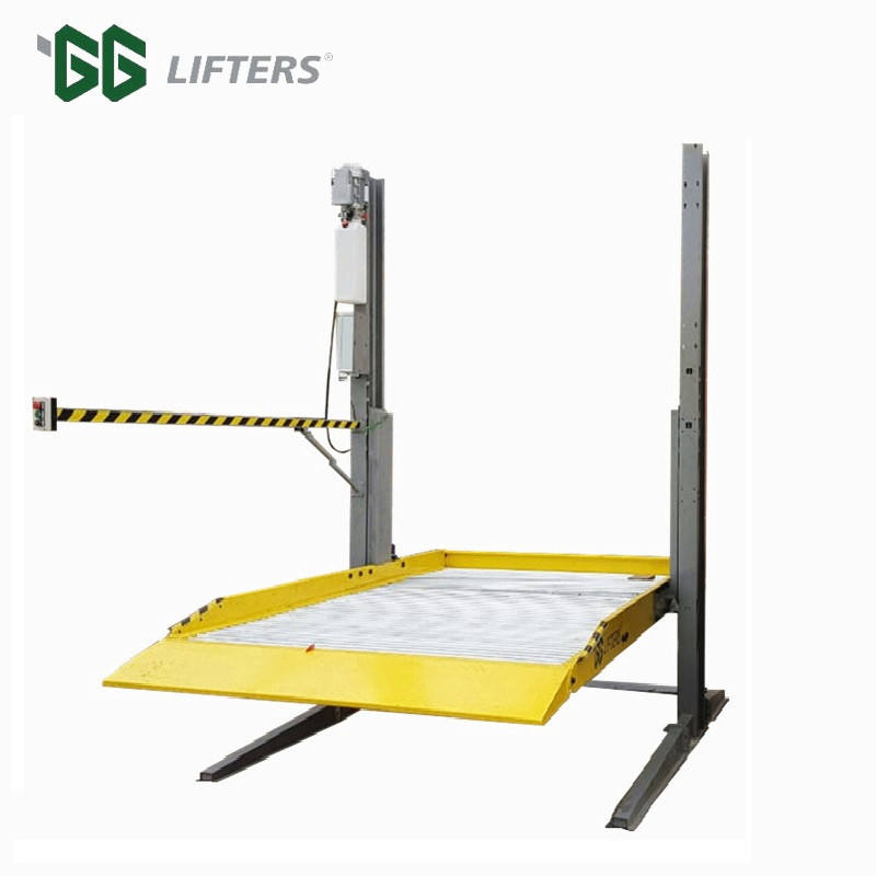 2 post shared columns double car parking lift with lifting capacity 3 tons