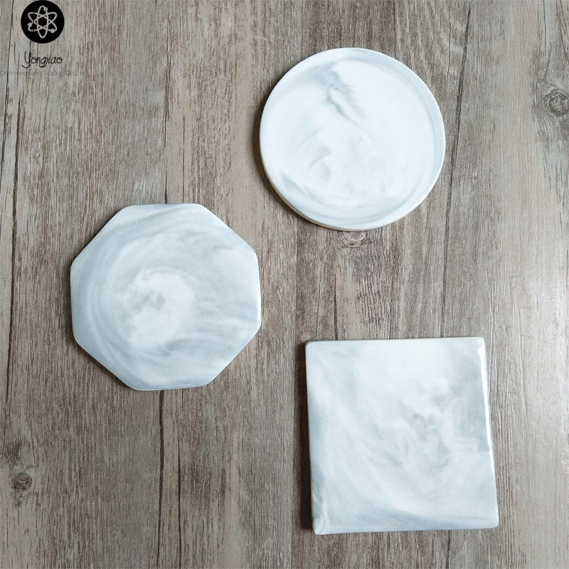 Custom print glass ceramic marble absorbent diatomite cup coaster