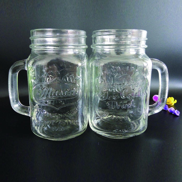 hot sale cheap machine made clear 600ml glass mason jar with handle