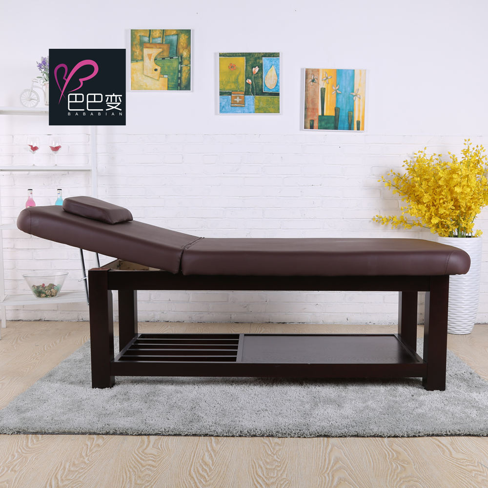 Best Flat leather Electric Height Adjustable Wood Facial Massage Bed