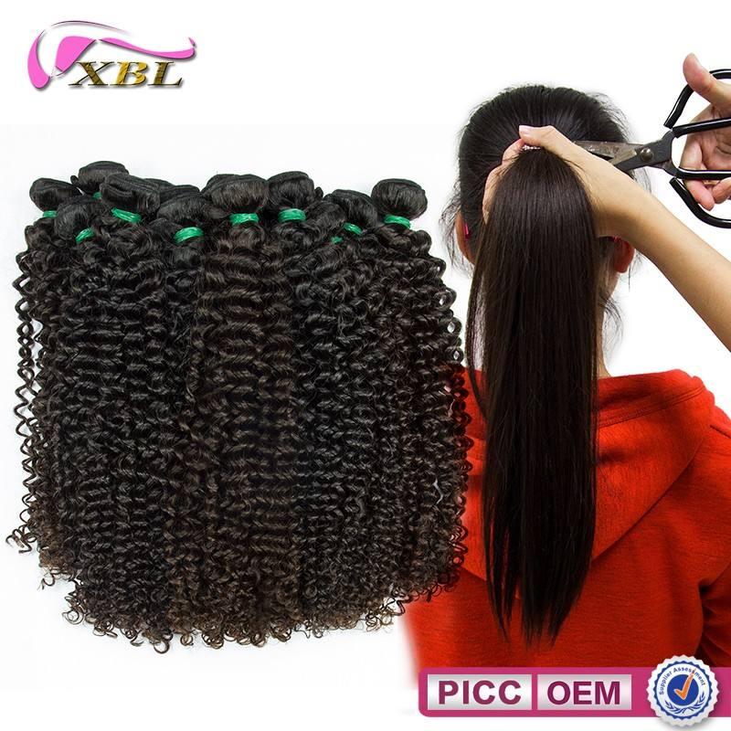 Maraña XBL envío Mongol rizado rizado cabello humano, Precio al por mayor del pelo humano
