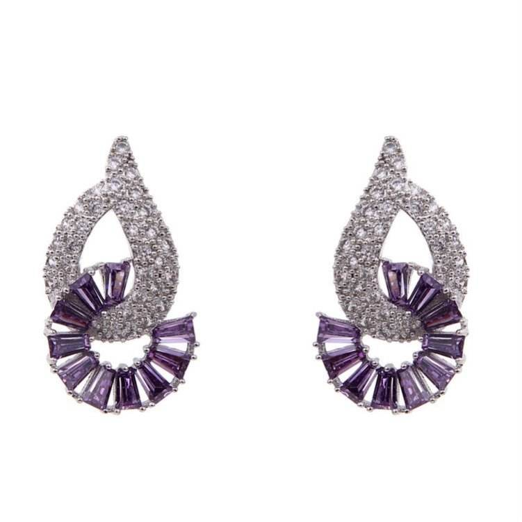 China gold manufacturer top sell purple resin stud earring