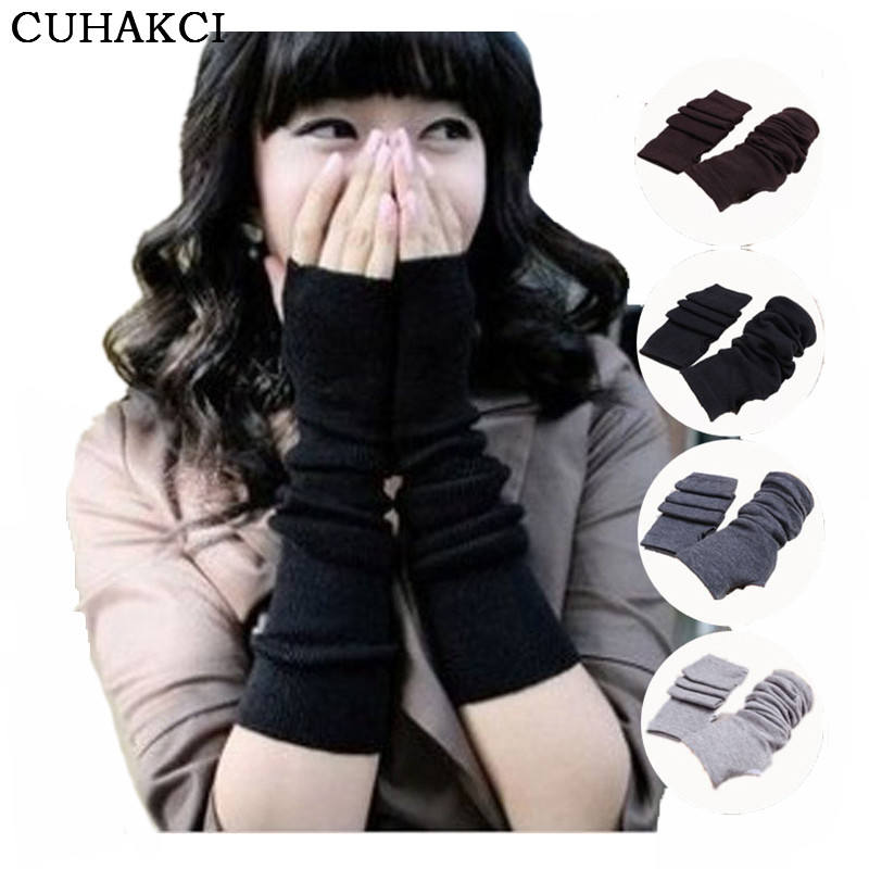 CUHAKCI Women New Soft Warm Knitted Hand Arm Crochet Stretchy Long Fingerless Fashion Glove Winter Mitten