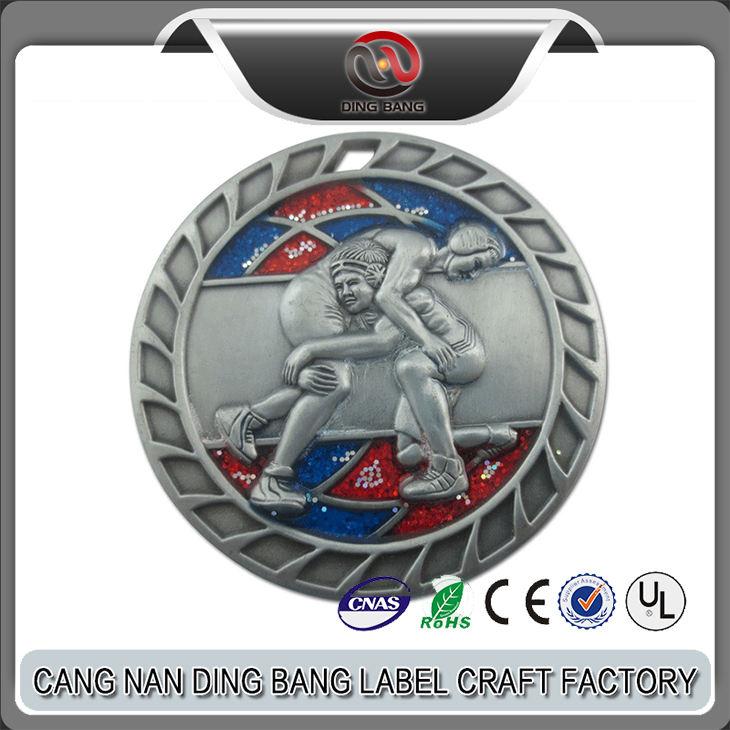 New Design Custom Made Glitter Powder Filled 3D Metal Antique Sliver Wrestling Medal