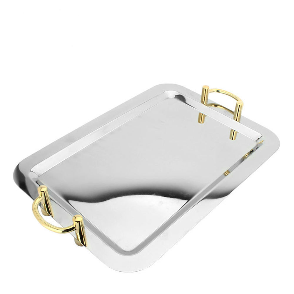 Retangular serving tray/stainless steel dish / retangular mirror polish stainless steel cafeteria tray