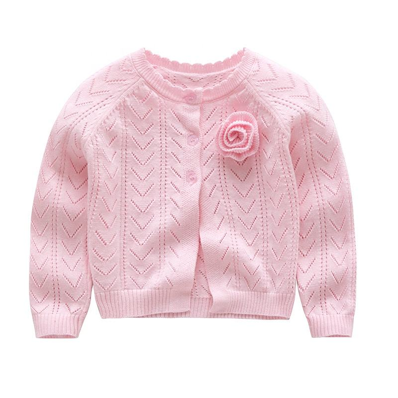 summer cardigan girls pink flower 3d kids sweater new design wholesale children clothes lots kids clothing baby clothes ready