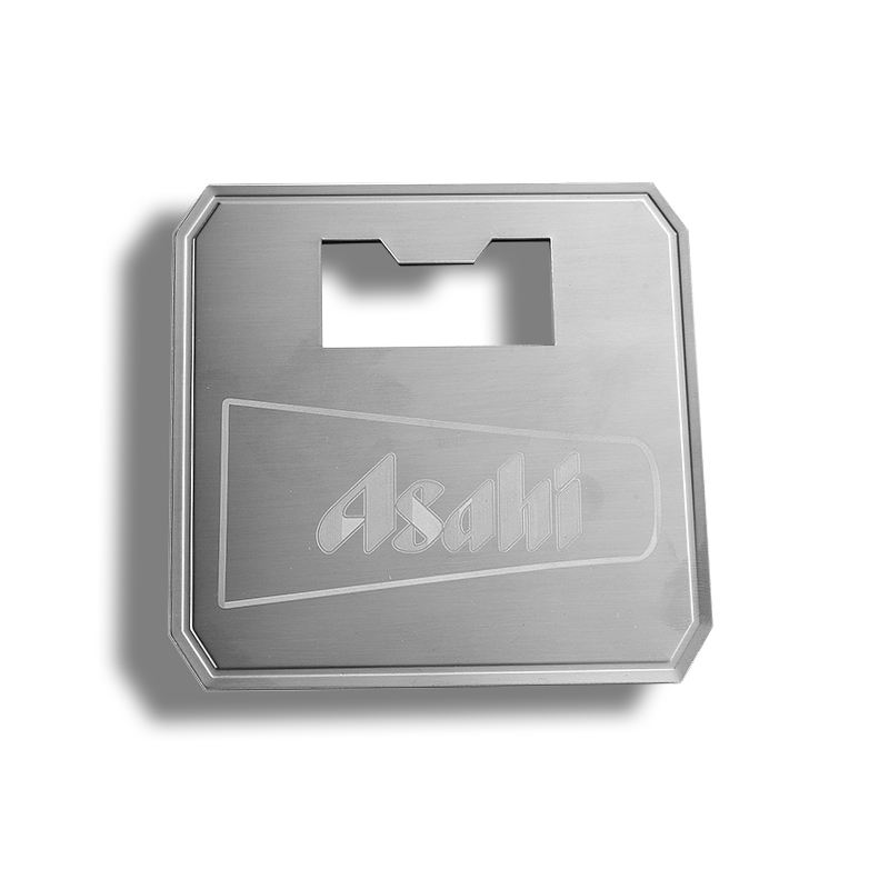 hot sale promotional gift stainless steel wiredrawing processing coaster with bottle opener