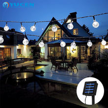 outdoor patio garden decoration waterproof christmas solar led ball string light