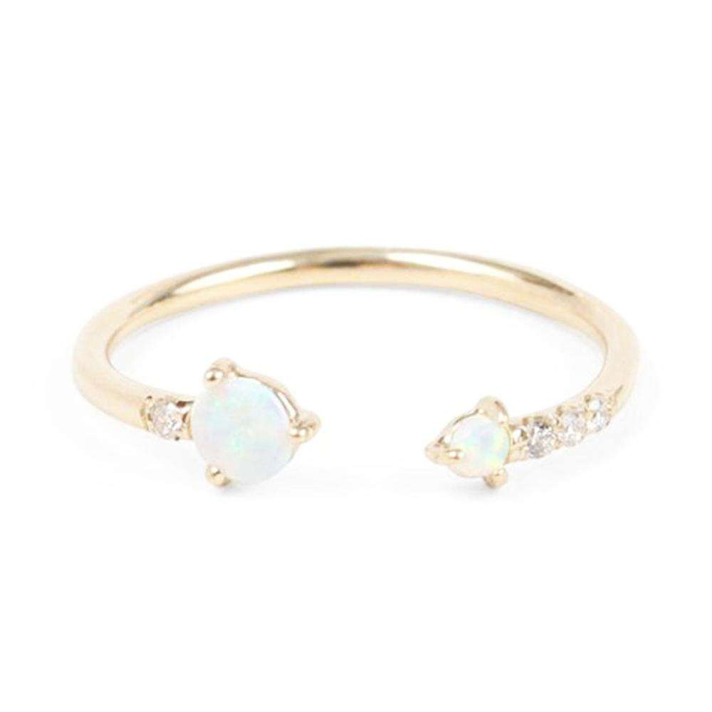 Gold Plated 925 Sterling Silver CZ Diamond Tiny Minimalist Stackable Rings Dainty Opal Open Ring