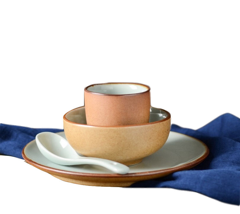 Great wood color bone china tableware matte finished dinnerware set with bowl ,plate and spoon