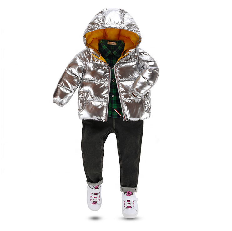 2019 new autumn/winter space suit silver winter children warm down padded jacket children's winter clothing