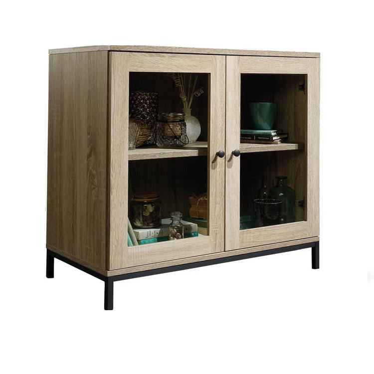 industrial style melamine kitchen cabinet sideboard with glass door