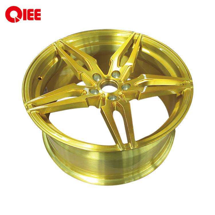 D64 forjado de <span class=keywords><strong>19</strong></span> pulgadas <span class=keywords><strong>19</strong></span>*8,5 de superficie amarillo transparente de oro de aleación de rueda de coche 5 agujero llantas