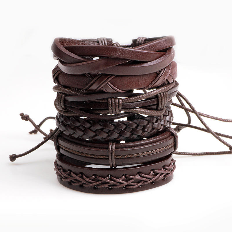 Fashionable Boho Jewelry Handmade Leather Bracelet Set 6 Piece DIY Style New Bracelet Men
