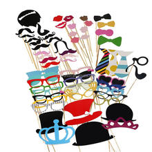 Photo Booth Props 58 piece DIY Kit for Wedding Party Reunions Birthdays Photobooth Dress-up Accessories & Party Favors