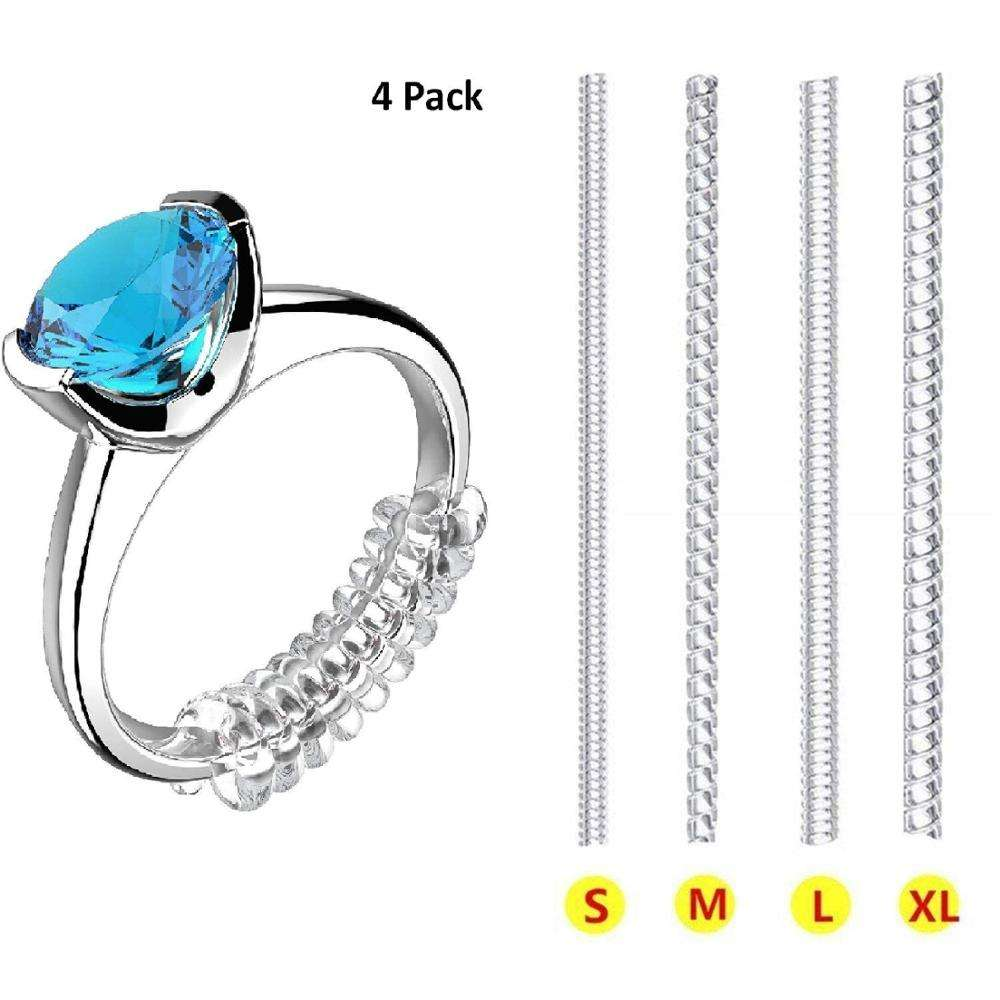 Invisible Ring Size Adjuster Transparent Guard Clip Jewelry Tightener Resizer for Loose Rings 4 Sizes Fit Almost Any Ring