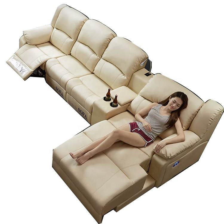 Modern Leather electric recliner motion sofa in living room furniture on sale Cinema Functional 3 Piece Recliner Sofa