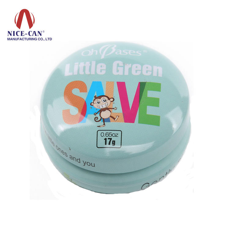 Tinplate small round lip tin case and cosmetic use cute tin box
