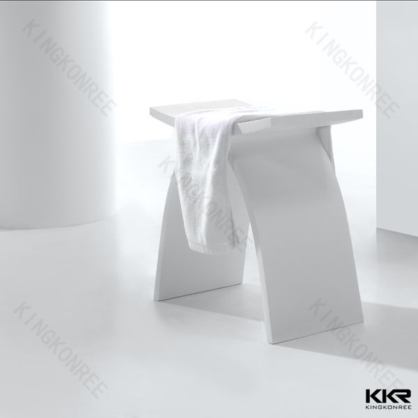 White solid surface shower seat to match bathtub