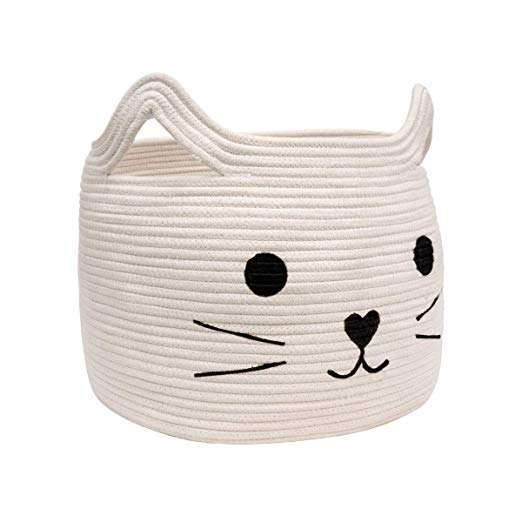 QJMAX Pet Shape Large Woven Cotton Rope Storage Basket Laundry Basket Organizer For Towels Blanket