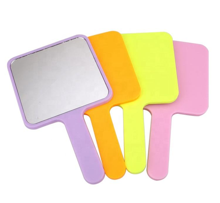 Wholesale Simple Square Plastic Hand Held Mirror Mixed Color
