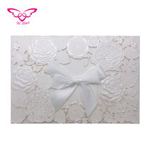 Dilian Wedding 2018 Jan. New Embossing And Laser Cutting Ivory Flower Thank You Card