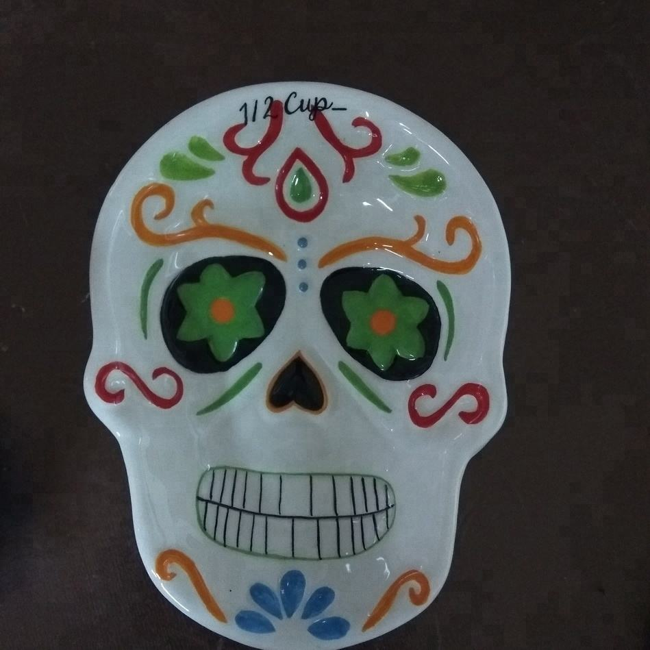 Custom day of the dead Mexican skull Plate,Halloween skull plate,Sugar skull dishes